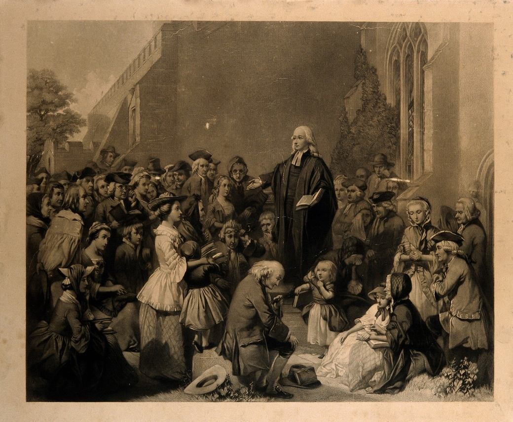 John_Wesley_preaching_outside_a_church._Engraving._Wellcome_V0006868